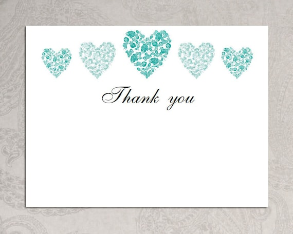 Thank you card template trio of hearts Download PRINTABLE