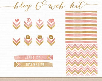 Website Background Social Media Icons Buttons Gold Pink Watercolor Chevron Photoshop Templates for Blog and Web Design