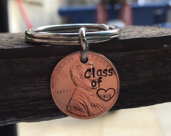Graduation gift 2015, class of 2015 penny keychain, lucky us penny keyrings, graduates keychain, roommates keychains, college roommates gift