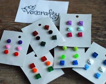 Lego Stud Earring with silver plated backs - Upcycled - Many colours available