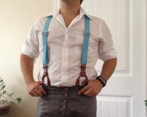 Blue leather suspenders, canvas and leather men's suspenders, baby blue, handcrafted, button on design Steampunk Cosplay