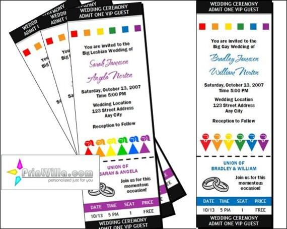 Lgbt Wedding Invitations: Gay Lesbian Wedding Ticket Invitations Set Of 12 Big Fat Gay