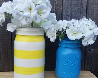 Painted Mason Jars, Yellow and White Striped, White and Yellow, Aqua Blue, Housewarming gift, Home Decor