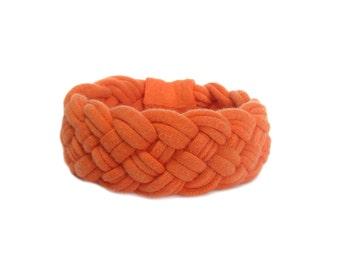 Orange T shirt Yarn Bracelet, Fabric Jewelry, Braided Tshirt Bracelet, Orange Chunky Cuff, Orange Cuff Bracelet, Recycled Tshirt, Gift