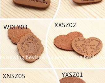 Handmade printed sew-on leather labels/brown tags/patch for patchwork