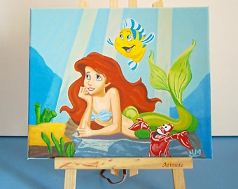 Princess Ariel Canavas, Acrylic Painting for Kids Rooms or Playrooms, Art for Kids, 25x30 cm