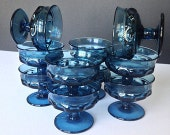 Set of Nine (9) Vintage Deep Blue Indiana or Tiffin Glass KINGS CROWN or thumbprint sherbet / dessert cups