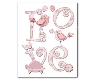 Pink nursery wall art children room wall decor kids room poster nursery typography love birds playroom decoration baby girl room artwork