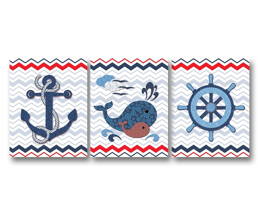 Nautical Bathroom Wall Decor : Nautical nursery wall decor bathroom art kids room artwork