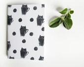CAT in a MUG NOTEBOOK Cat print Cute little booklet Handmade stationery Minimalist journal Hand printed Linocut Handbound blank sketchbook