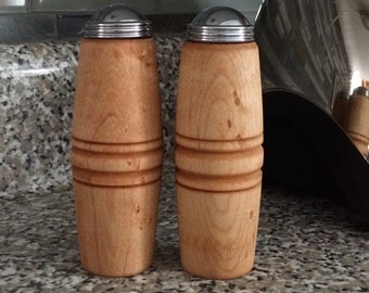 Birdseye maple salt and pepper shakers