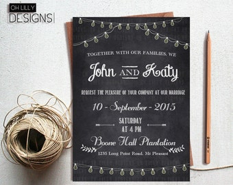 Chalkboard Wedding Invitation, Chalkboard Invitation, Wedding Invitation Printable, Digital File,