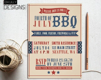 4th july invitation, 4th of july invitation, Fourth of July Invitation, 4th of July BBQ, Fourth of July Party, 4th of july invites