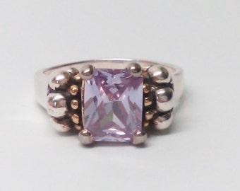 Vintage handmade 925 Sterling silver Purple Crystal ring Size 7.5