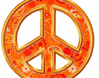 Machine Embroidery Design - Peace Sign Applique - Instant Download-3 Sizes