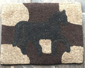 Primitive Horse Hooked Rug