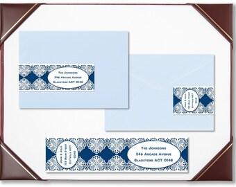 Envelope wraps sapphire lace wraparound address labels personalised labels invitations wedding engagement bridal shower baby shower