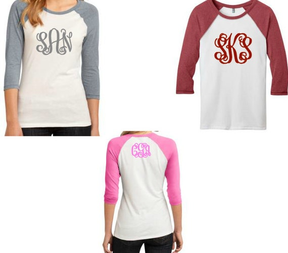 Monogrammed raglan 3 4 sleeve baseball shirt by silverngeauxld for Embroidery placement on t shirts