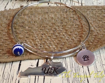 University of Kentucky UK Wildcats Metal Stamped Jewelry Wire Bangle Bracelet