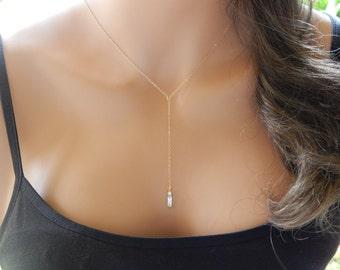 Lariat Necklace, CZ Lariat, Diamond Lariat, Lariat Pendant, Lariat Choker, Girlfriend Gift, Minimal Necklace [N-502]