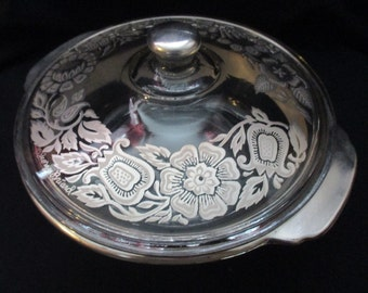 Vintage Fire King, Georges Briard, Silver Plated in Floral Motif, Round, 2 quart Casserole Dish by Anchor Hocking #448. 1960's