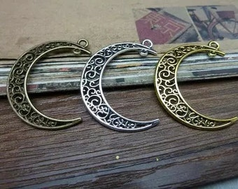 20pcs Antique Silver / Antique Bronze /Antique Gold Double Holes Moon 32*38mm DIY Jewelry  Pendant Accessories