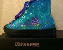 Custom galaxy painting on Customized Converse Hi Top adult sizes