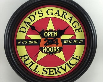 DAD'S GARAGE Full Service Wall Clock