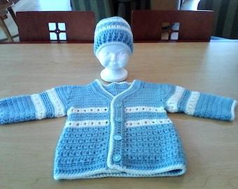 Crochet Baby Boy Sweater And Beanie Set