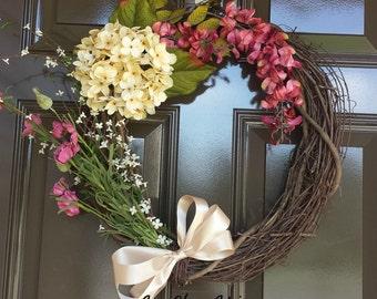 Spring Door Wreath; Summer Wreath; Mother's Day Wreath; Year Round Wreath