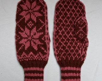 Hand knit 100% Wool Norwegian Selbu Mittens