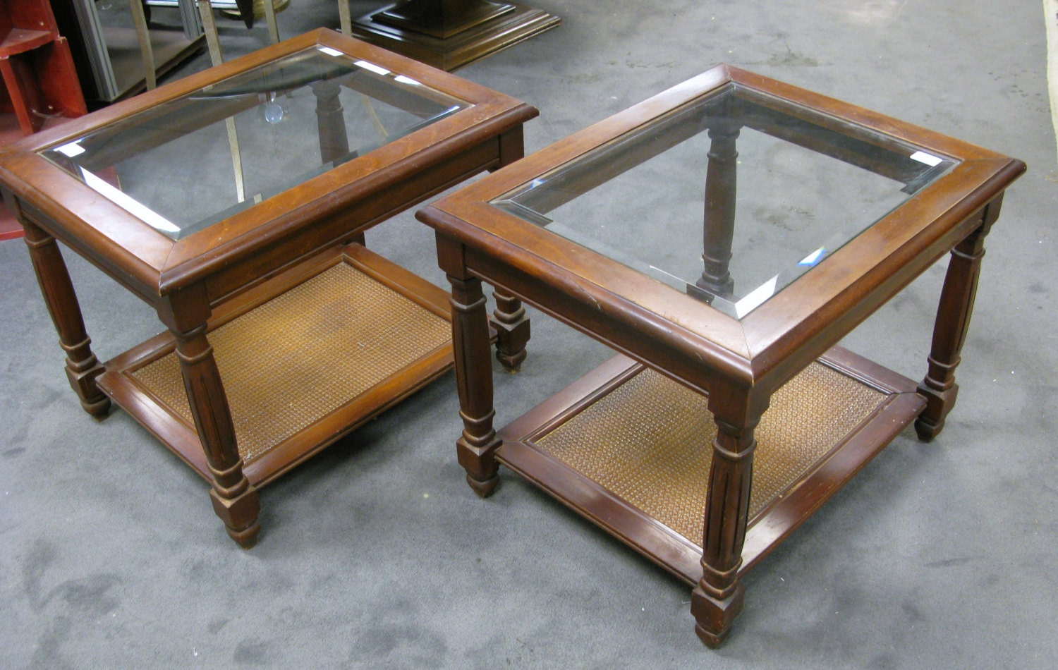 Two Mersman Side End Tables Beveled Glass Top Wicker Bottom Shelf Cherry Wood Cherry Stained Maple Used Haute Juice