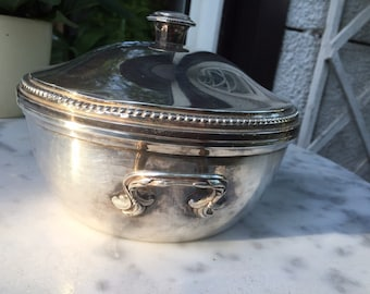 Vintage Silverplate Bowl and Lid Stamped Paris, France
