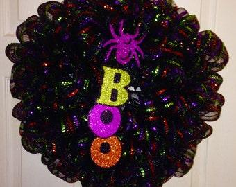 BOO Halloween Deco Mesh Wreath