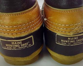 Men's Vintage L.L. Bean Maine Hunting Shoe Tan Leather Lace Up Rubber Duck Boots Freeport Maine Sz. 10 M