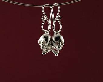 Solid silver Laughing Skull drop or dangle earrings in 925 sterling Silver, a unique gift