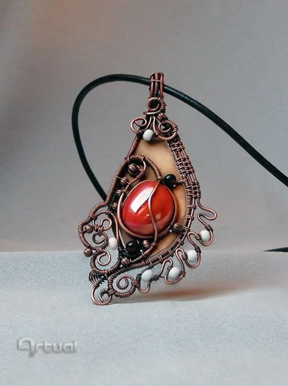 Artistic Jewelry Necklace Wire Wrapped Vermillion Glass By
