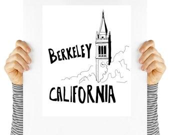 Berkeley California travel, printable poster, digital download, cal bears, Campanile, cal, Instant download, instant art, wall decor,