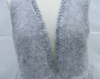 Lightweight Summer Hand knitted stringy silver  bolero