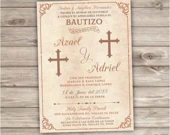 12 PRINTED with Envelopes Siblings Spanish Baptism Invitations Brothers hispanic Gender Neutral Boy Bautizo two names Girl Boy espanol NV520