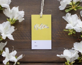 Hello Gift Tags ( in Yellow)