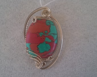 Sonoran Sunrise Stone Pendant Wire Wrapped in Sterling Silver