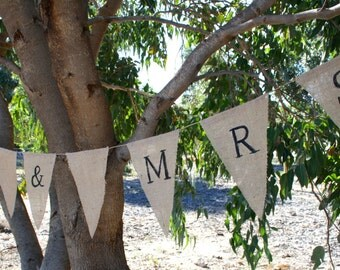 Hessian - Mr & Mrs Wedding Bunting - Handmade - Perth