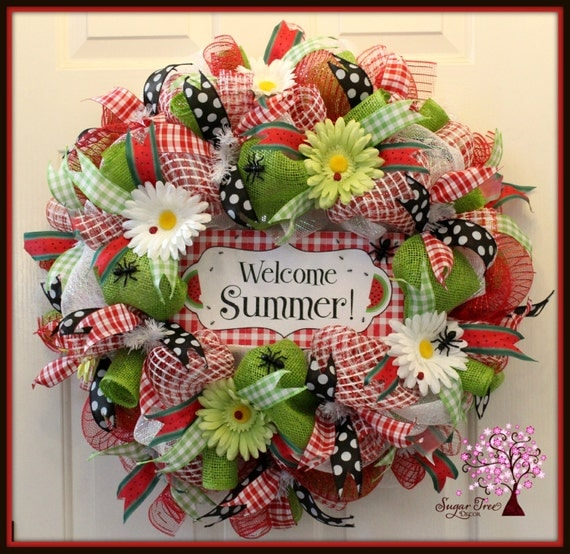 Welcome Summer Wreath Summer Wreath Watermelon By