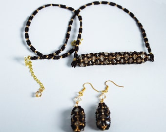 beaded necklace and earrings with svarovski crystals