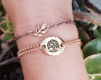 Gold Tree Chain Necklace or Double-Strand Bracelet