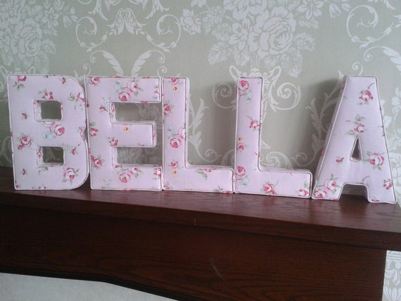 Girls personalised nursery decor fabric letters 3d wall art for Fabric covered letters for nursery