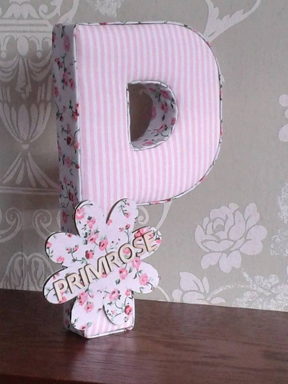 Items similar to girls fabric personalised nursery bedroom for Fabric covered letters for nursery
