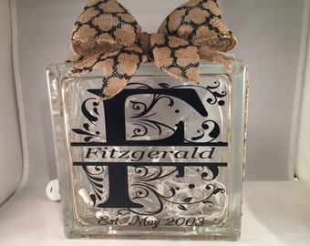 Personalized Wedding Gift/Anniversary Gift/Bridal Shower Gift Monogram and Name Lighted Glass Block (8 inch)