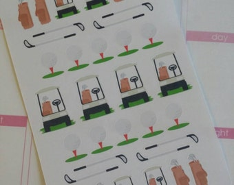 Golf Stickers! Perfect for your Erin Condren Life Planner, calendar, Paper Plum, Filofax!